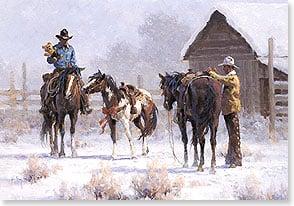 Christmas Card: Cowboys and a Teddy Bear